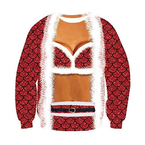 chicolife Unisex Uomo Donna Brutti Natalizi Maglioni 3D Natale Donna Vestito in Scala Stampato Leggera Felpa Girocollo Sweater per Regalo di Capodanno