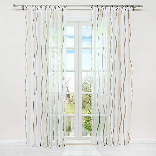 HongYa 1er-Pack Voile Gardine Transparenter Vorhang mit Kräuselband Wellen Druck H/B 175/140 cm Creme Braun