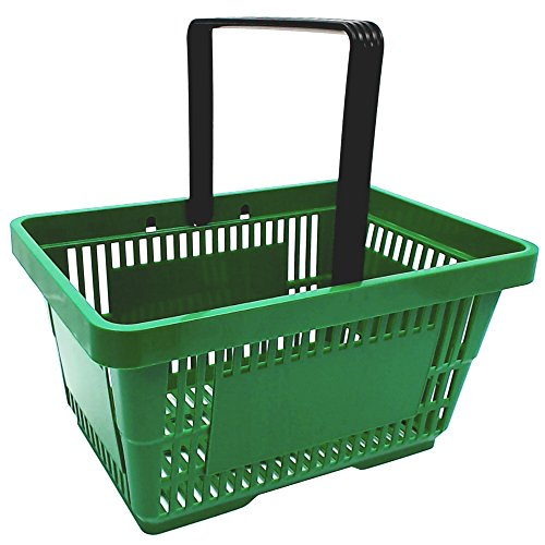gebar 1 Einkaufskorb in grün mit Einem Tragegriff aus Plastik 20 Liter Verkaufskorb Verkaufskörbe stapelbar