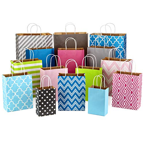 "Hallmark Paper Gift Bag Assortment, Variety Pack of 15 for Birthdays, Baby Showers, Weddings, Easter, All Occasion (8"" Small, 10"" Medium, 12"" Large, 14"" Extra Large; Pink, Blue, Green, Grey)"