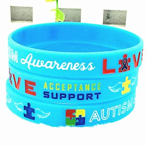 Xi-Link Pulseras De Concienciación Al Autismo Pulsera De Alerta Médica De Silicona De Silicona para Hombres para Hombres (Color : Sky-Blue)