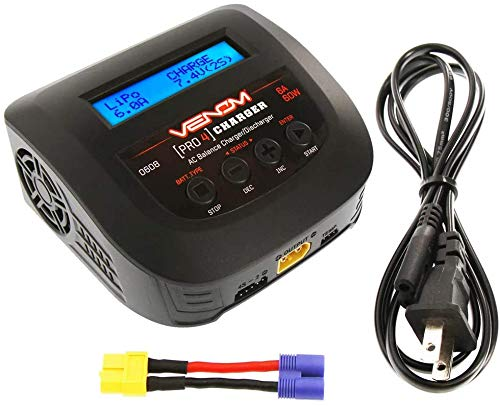 Venom Power Pro 4 Charger - AC Balance Charger/Discharger - 60W Power Supply, On-Board Balance Block - Fast Charge LiPo, LiHV, NiMH, LiFe, Li-Ion, 6 to 8 Cell NiMh, NiCd, 6V to 12V Lead Acid Batteries