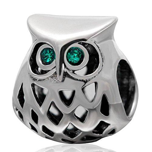 Wijze Uil Blauw Swarovski Stones Ogen Bedel Sterling Zilver 925 passend Europese Armband Compatibel