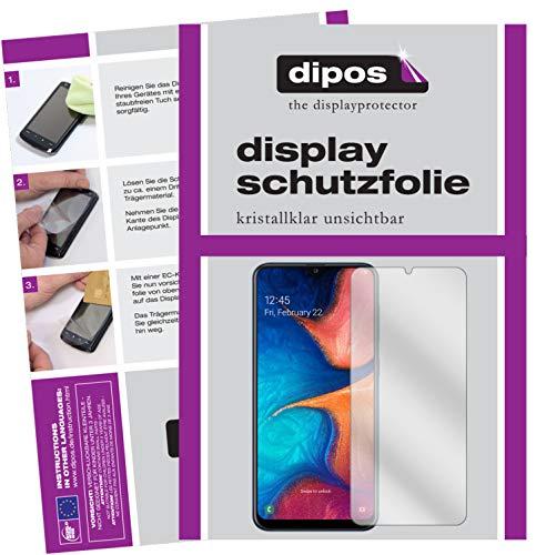 dipos I 2X Schutzfolie klar kompatibel mit Samsung Galaxy A20e Folie Displayschutzfolie (bewusst Kleiner als das Glas, da Dieses gewölbt ist)