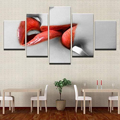 FTFTO Equipo de Vida-Lienzo Mural Imagen HD impresión Sala de Estar 5 Mujeres lápiz Labial Rojo Pintura Marco Labios Rojos Beso Cartel