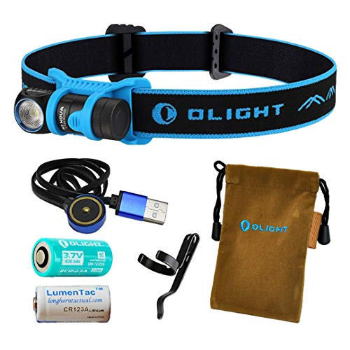 OLIGHT H1R 600 Lumens Rechargeable LED Headlamp (Choice of Three Color Headbands) w RCR123A Battery, Magnetic USB Charging Cable, and LumenTac CR123A Battery (Blue, Cool White)