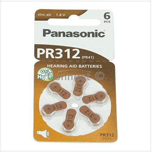 Panasonic PR312 Hörgerätebatterien (10 Blisterpackungen - 60 Batterien)