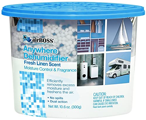 airBOSS Anywhere Dehumidifier, Fights Mildew and Odors, Fresh Linen, No Spills, Dual Action, 10.6 oz, Pack of 6