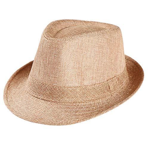 QND,Sombrero,Sombrero de Copa de Lino Transpirable Sombrero para el Sol al Aire Libre Sombreros de Paja rizados para Hombres Gorra con Visera, B, Caqui