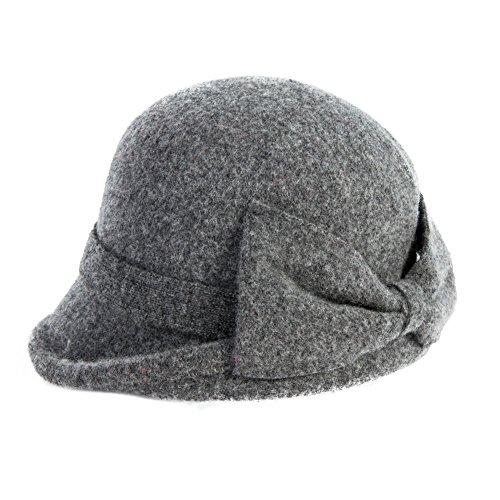 SIGGI Wolle 1920s Retro Fedorahüte Kirche Hüte für Frauen Filzhut Klassisch Bowler Hut Grau