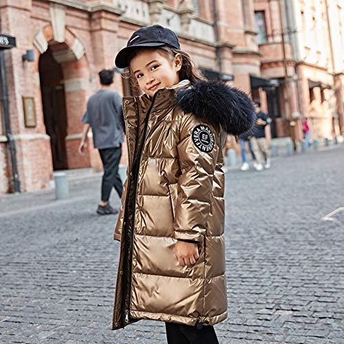 MDLJY Kinderjacken Mode Gold Mädchen Daunenjacke Warme Baby Kinder Daunenparkas Mantel Pelz Kind Teenager Verdickung Oberbekleidung Für Kalten Winter