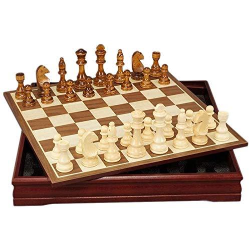 TYUIOO Conjunto de ajedrez de Madera clásico - Tablero de ajedrez de Madera y Piezas de Madera de Estilo Staunton - Juego de Mesa para Adultos y niños - 12 x 12 Pulgadas (Size : 45 * 45 * 6cm)