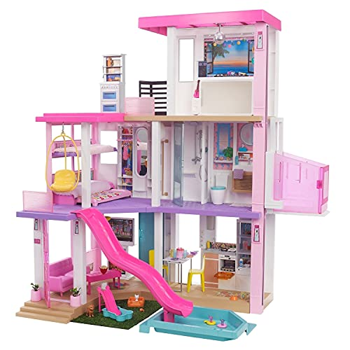 Barbie Dreamhouse (3.75-ft) 3-Story Dollhouse Playset with Pool & Slide, Party Room, Elevator, Puppy Play Area, Customizable Lights & Sounds, 75+ Pieces, Gift for 3 to 7 Year Olds