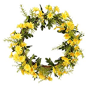 Silk Flower Arrangements Spring Leaf Wreath Plastic Artificial Flowers (Peony Flower, Daisy, Cosmos, Colored Phoenix Leave) Wreath Home Decoration, Front Door Hanging Wall Window Wedding Party Garden Decoration (Yellow)