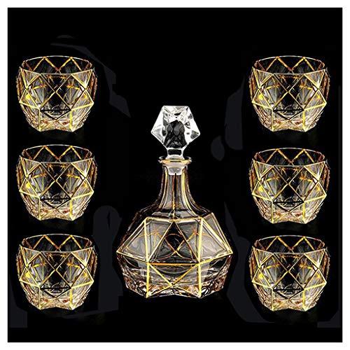 LSRRYD 7-delige set loodvrije kristal whisky-karaf 750 ml en 6 glazen 280 ml met dekselwijn karaf wijnbeluchter voor thuis bar decoratief cadeau