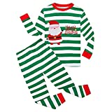 Kids Pajamas Sets Santa Claus 100% Cotton Toddler Pjs for Children's Little Boy Girl (Green, 4 Years Old)