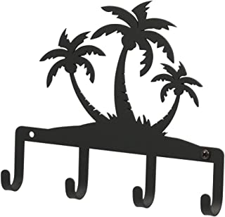KH-139 Triple Palm Trees Silhouette Black Metal Key Holder