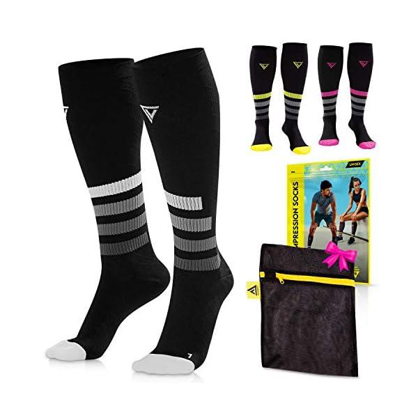 LANGOV Compression Socks For Women & Men Circulation – 20-30mmhg (2 Pairs)