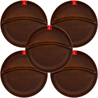 テーブルウェアイースト ランチプレート 丸型2つ仕切り 5枚セット(ライトブラウン) 食器セット レンジ・食洗機OK 仕切り皿 ワンプレート 食器 レンジ対応 食洗機対応