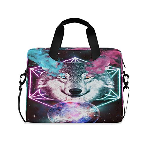 Space Colorful Wolf 16 inch Laptop Shoulder Bag Travel Laptop Briefcase Carrying Messenger Bags