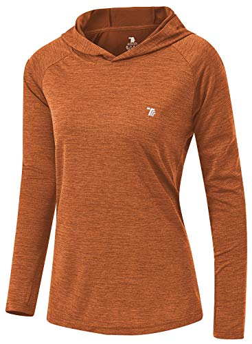 TBMPOY Womens UPF 50+ Sun Protection Hoodie Shirt Long Sleeve Fishing Hiking Outdoor UV Shirt Lightweight Orange L