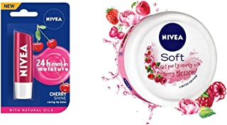 NIVEA Lip Balm, Fruity Cherry Shine, 4.8g & NIVEA Soft, Light Moisturising Cream, Berry Blossom, 100ml