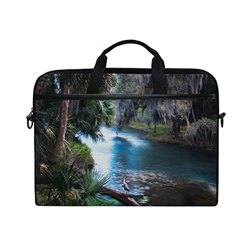 Ahomy 14 Zoll Laptop-Tasche, Ölgemälde, Palmen, Baum, Fluss, Leinen, Laptop-Tasche mit Schultergurt für Damen und Herren