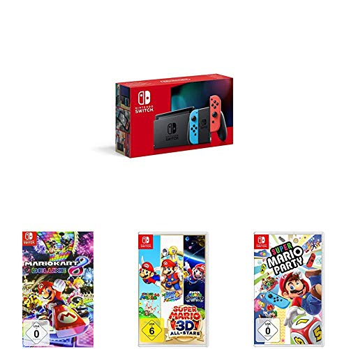 Nintendo Switch Konsole - Neon-Rot/Neon-Blau (2019 Edition) + Mario Kart 8 Deluxe [Nintendo Switch] + Super Mario 3D All-Stars [Nintendo Switch] + Super Mario Party - [Nintendo Switch]