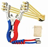 Stainless Steel Polished Slingshot Catapult with Laser Printed Wolf Head Design (6 String Bands) Cord Wrapped Handle With EDC Bag for Catapult Game Hunting Camping Outdoor Kids,Adults (Red Blue)