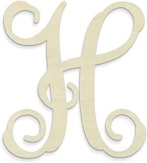 UNFINISHEDWOODCO Single Vine Unfinished Monogram H Decorative Letter, 13-Inch