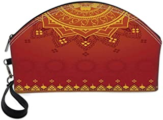 Lotus Small Portable Cosmetic Bag,Arabesque Background with Moroccan Traditional Featured Symbolic Boho Effect For Women,Half Moon Shell Shape One size