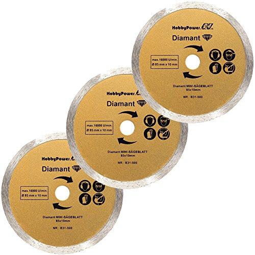 Mini Handkreissäge 3er-Set Sägeblatt Diamant-Trennscheibe 85x10mm für Matrix MCS 500-1