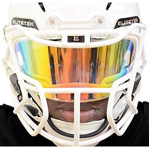 EliteTek Clear Orange Football Visors for Helmet Tinted - Fits Kids/Youth & Adult - Eye Protection Prevent Eye Pokes (Clear Orange Colored)