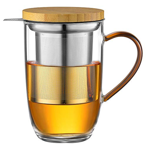 ecooe 440ml Glas Teetasse Borosilikat Teebecher Teeglas mit Ultrafein 18/10 Edelstahl-sieb Natürlicher Bambus Deckle Verdickter Glas Tasse für Kaffee Saft kohlensäurehaltige Getränke Milch Joghurt