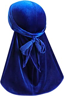 ASHILISIA Luxury Velvet Wave Durag - Soft Durag Headwraps with Extra Long Tail and Wide Straps for 360 Waves