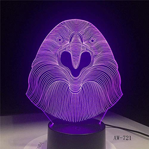 Lámpara LED 3D-gamin owl escritorio luz nocturna 7 cambios de color control remoto decoración navideña regalo de navidad niño bebé juguete lava AW-721