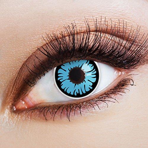 aricona Kontaktlinsen - Blaue schwarze Kontaktlinsen Farblinsen ohne Stärke - Farbige Kontaktlinsen für Karneval, Fasching, Cosplay, 2 Stück