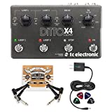 TC Electronic Ditto X4 Looper Effects Pedal Bundle with Blucoil Power Supply Slim AC/DC Adapter for 9 Volt DC 670mA, 2-Pack of Pedal Patch Cables and 4-Pack of Celluloid Guitar Picks