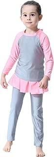 IWEMEK Modest Muslim Swimwear for Girl Islamic Full Cover Hijab Burkini UPF 50 Rash Guard Swimsuit Top Pants Cap 3PCS Bathing Suit