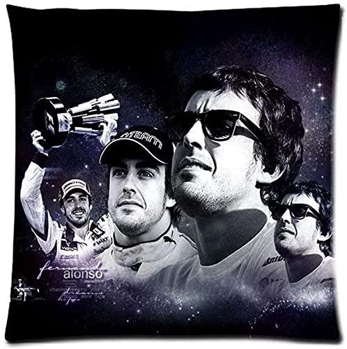 SHAA Funda de almohada de poliéster Fernando Alonso 2020 Funda de cojín para sofá, cintura de 45 x 45 cm