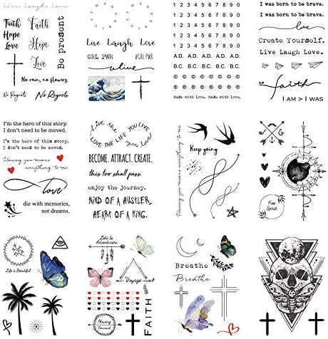 Everjoy Realistic Temporary Tattoos 16 Sheets Inspirational Quotes Live Laugh Love Faith Hope product image