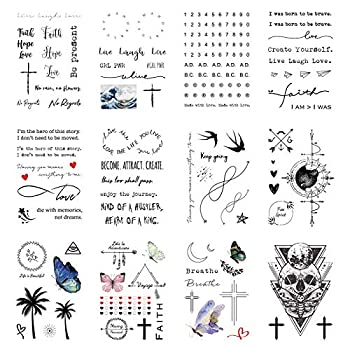 Everjoy Realistic Temporary Tattoos - 16 Sheets Inspirational Quotes Live Laugh Love Faith Hope Breathe Boho Butterfly Heart Cross Infinity Tattoos