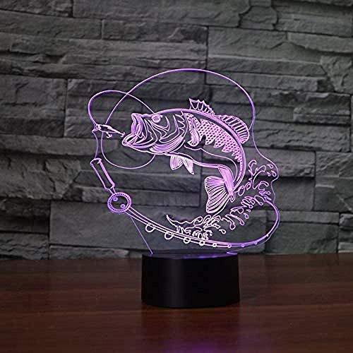 Luz de noche 3D Luz de noche Luz de noche para tarifa de pescado Estación de pesca Tabla de botones táctiles Regalo increíble Niños Regalo de Navidad de Halloween