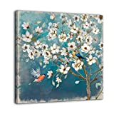 Canvas Wall Art Flower Bird Wall Decor for Bedroom Bathroom Framed Artwork for Walls Modern Wall Decorations prints picture for Kitchen Home Decor Size 14x14 Painting of White Flowers Tree Green Back
