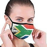 Una bandera de Sudáfrica con una textura Grunge tela media cara máscara bucal máscaras con orejeras anti polvo anti niebla máscara a prueba de viento