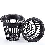 PonicsFarm NP2-2 inch Net Pots Cups - Heavy Duty NO Pull Thru Rim Design - Orchids • Aquaponics • Hydroponics Slotted Mesh (50 Black)