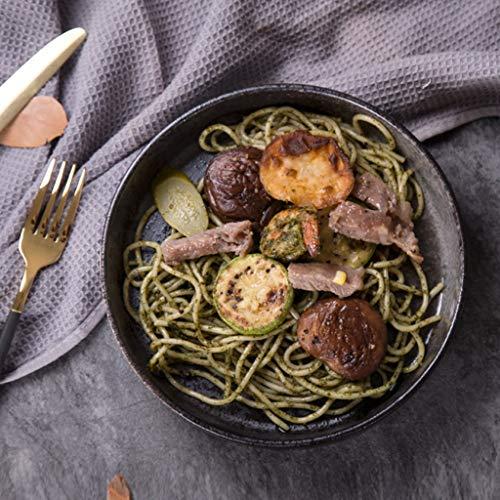 XIUXIU Ménage Européen Solide Couleur Simple Gommage Ouest Plat De Bifteck Rond En Céramique Plat Bouche Salade Profonde (Taille : 20.5cm)