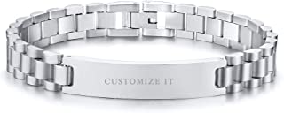 Personalized Custom Engravable Stainless Steel Classic Watch Band Link Chain ID Bracelet for Men