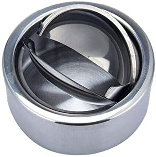 GAOTING Ashtray/stainless steel ashtray, portable automatic cover (Color : Silver, Size : 12.5 * 5.5m)