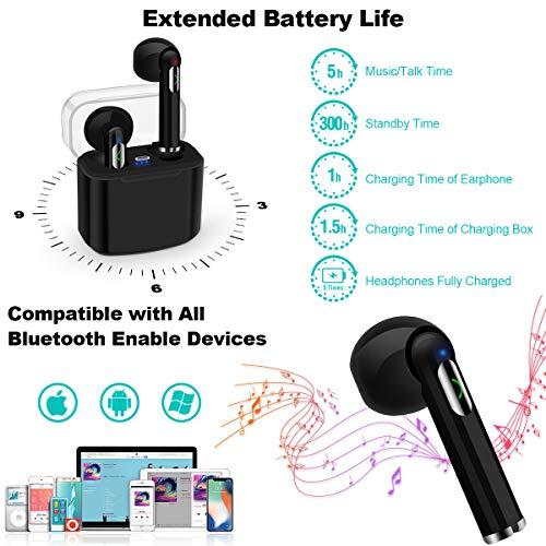 Wireless Earbuds,Bluetooth Earbuds Wireless Earphones Stereo Wireless Earbuds with Microphone/Charging Case Bluetooth in Ear Earphones Sports Earpieces Compatible iOS Samsung Android Phones Black 4